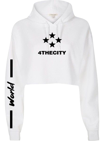 White 4TC Cropped hoodie
