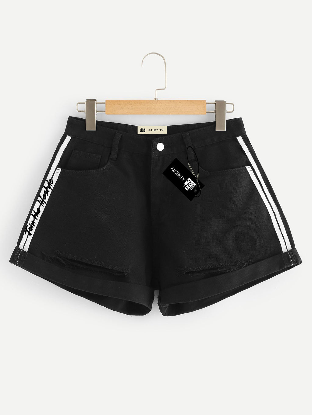 4TC Black Denim Shorts