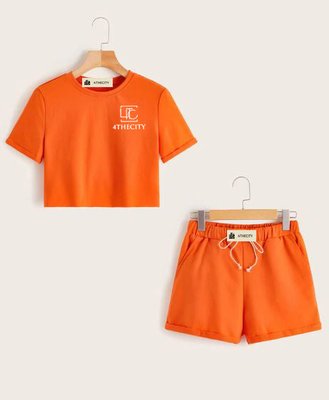 4TC Orange Cropped T-Shirt & Shorts