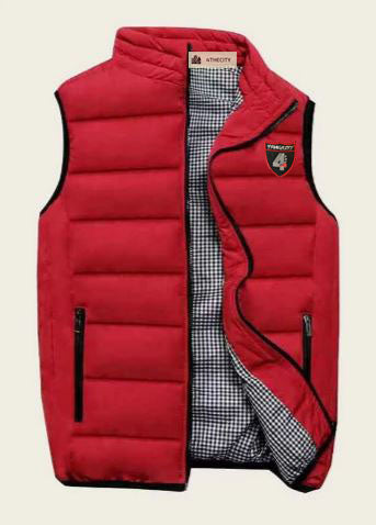 4TC Red zip up puffer vest