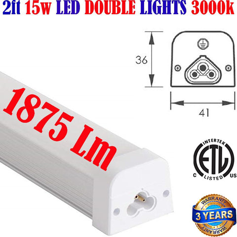 2ft Led Light Fixture, Canada 15w 3000k Hardwired Under Cabinet Lighting - LED Light Canada