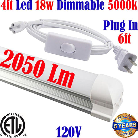 Wall Mounted Plug In Lights: Canada T8 4ft Dimmable 18w 5000k Kitchen - LED Light World