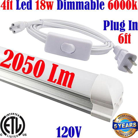 Plug In Led Lights: Canada T8 4ft Led 18w 6000k Kitchen Shop Workshop Home - LED Light World
