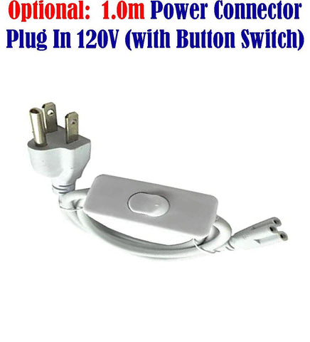 Electrical Plug Connector: 1.0m Cord with Button Switch 120V for Led Double Lights - LED Light Canada