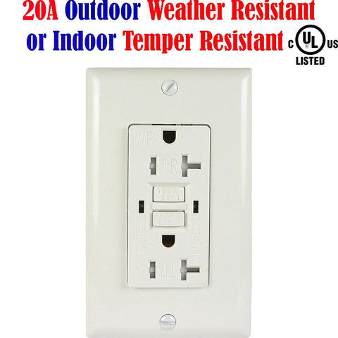 20 amp GFCI Receptacle: Canada Weather Tamper Resistant WR TR - LED Light Canada