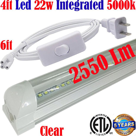 Plug In Wall Lights Canada: T8 4ft 22w Clear 5000k Daylight Workshop Garage Shop ETL - LED Light World