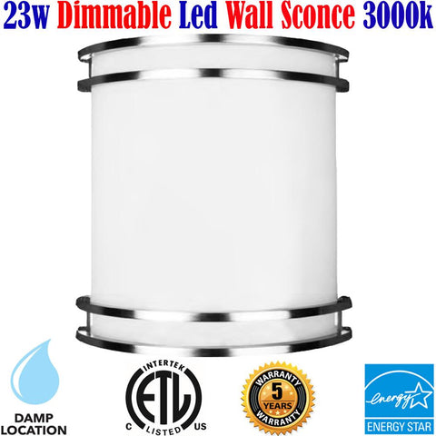 Wall Sconces Canada Dimmable Led 23w 3000k Kitchen Bathroom Bedroom - LED Light World