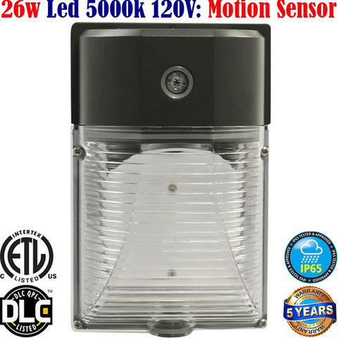 Led Motion Sensor Light Canada: 26w 5000k Security Garage Porch Wall - LED Light World
