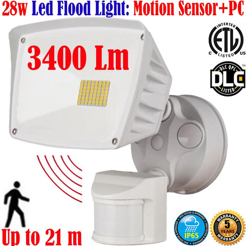 Led Motion Sensor Light Canada: 40w 6000k White Outdoor Garage Porch - LED Light World