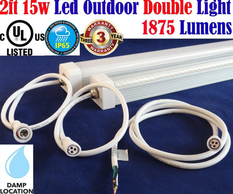 Outdoor Sign Lights, Canada: Led 2ft 15w Clear 6500k 2pack 1875Lm Garage Porch - LED Light World