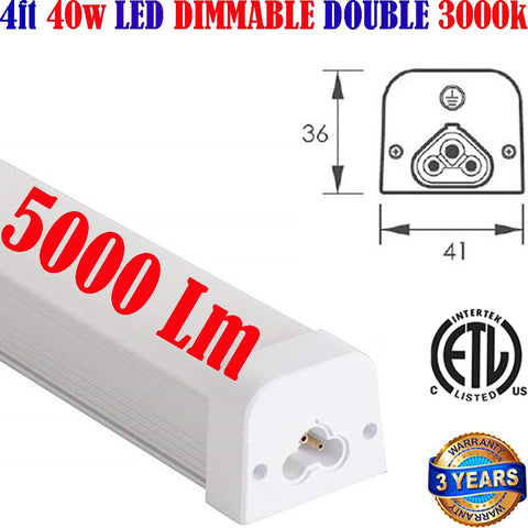 Led Shop Lights Canada, Dimmable 4ft 40w 3000k White Garage Workshop - LED Light Canada