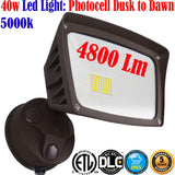 Outdoor Wall Lighting Canada: Led 40w 4800Lm 5000k Photocell Dusk to Dawn Yard - LED Light World