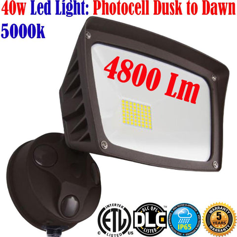 Outdoor Wall Lighting Canada: 40w 5000k 4800Lm Led Photocell Dusk to Dawn Yard - LED Light World