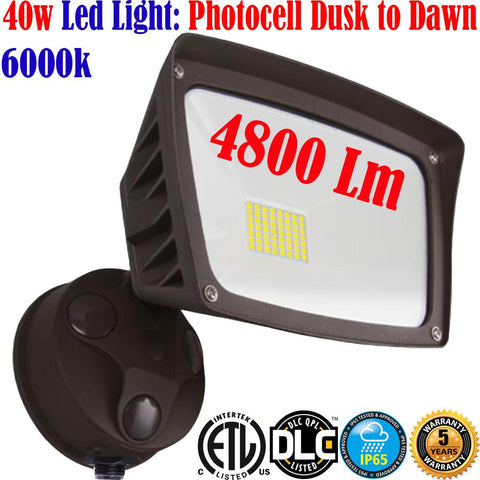 Exterior Garage Lights: Canada Led 40w 4800Lm 6000k Photocell Dusk to Dawn Yard - LED Light World