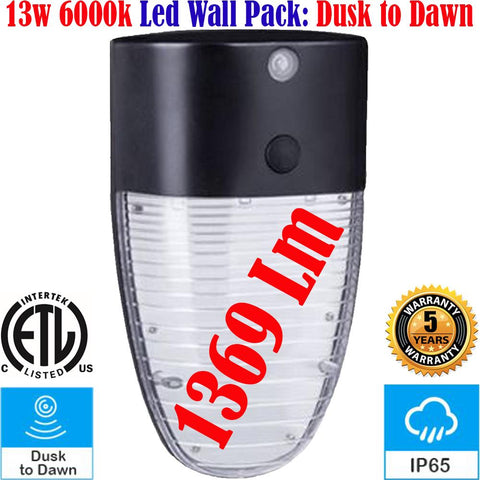 Exterior Wall Lights, Canada 13w 6000k Led Dusk to Dawn Outside House Yard - LED Light World