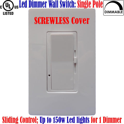 Slide Dimmer Switch: Canada Led Dimmable Single Pole Screwless Plates - LED Light World