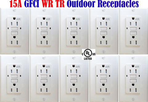 Outdoor GFCI Outlet: Canada 15amp 10pack Weather Resistant Receptacle WR TR - LED Light Canada