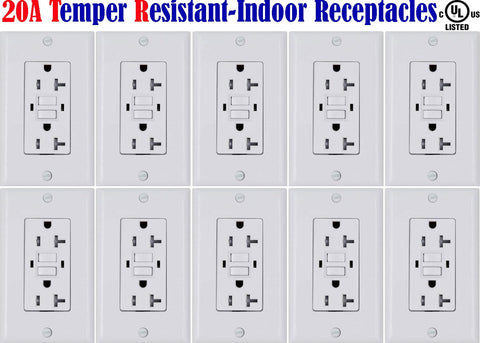 20 amp GFCI: Canada 10pack Temper Resistant Receptacle Outlet TR 120V - LED Light Canada