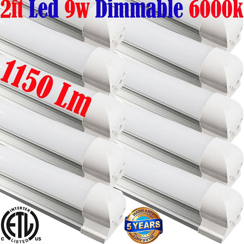 Led Tube Lights Canada, Dimmable: T8 10pack 2ft 9w 6000k Under Cabinet Hardwired - LED Light World
