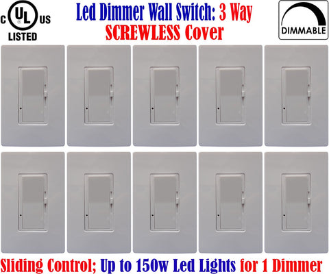 Led Dimmer Switch Canada: 10pack 3-Way Screwless Dimmable 150w 120V - LED Light World