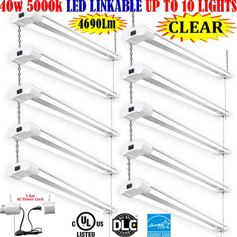 Plug In Hanging Light, Canada 4ft 40w 10pack Clear 5000k Garage Shop Office - LED Light Canada
