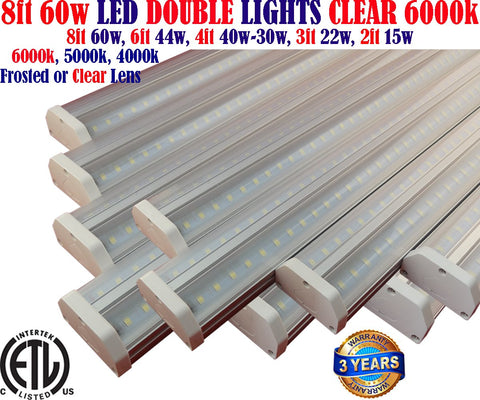 Light Fixtures Canada: 8ft 10 Pack 60w Clear 6000k Workshop Garage Shop Office - LED Light World