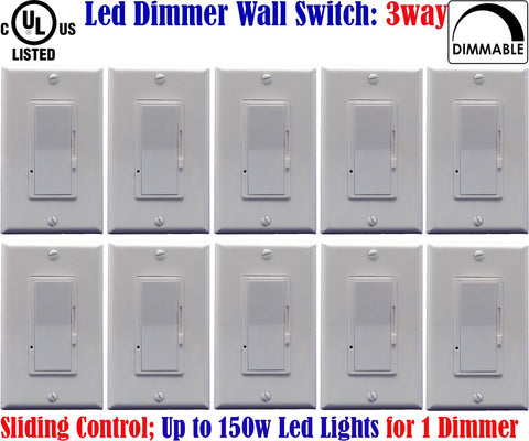 3 Way Dimmer Switch: Canada 10pack Led Three Way Dimmer Dimmable 150w