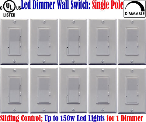 Dimmer For Led Lights: Canada 10pack Led Dimmable Switch Single Pole