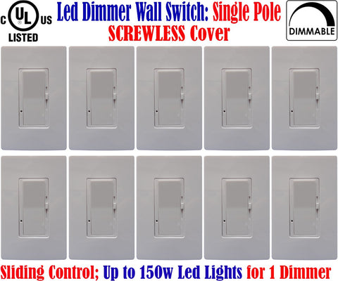 Led Dimmer Switch Canada: Canada 10pack Single Pole Screwless Dimmable 150w - LED Light World