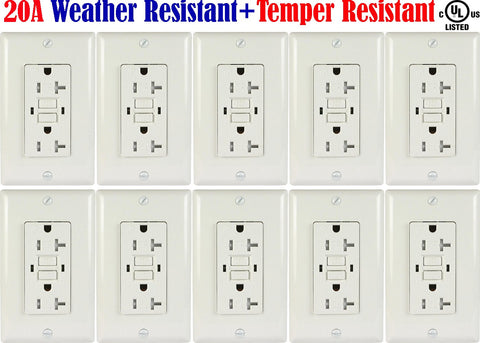 20 amp GFCI Outdoor Outlet: Canada 10pack Weather Resistant Receptacle WR TR - LED Light World