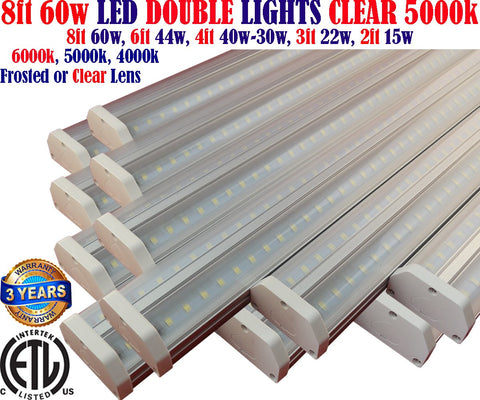 8 foot Led Shop Light Fixtures, Canada: 8ft 12 Pack 60w Clear 5000k Garage - LED Light World