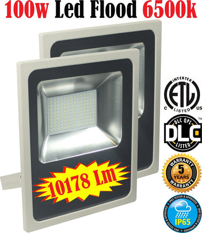 Outdoor Flood Lights: Canada 2 Pack 100w 6500k Bright Yard Commercial - LED Light World