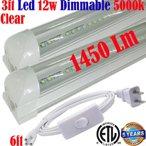 Under Cabinet Lighting Canada: T8 3ft Dimmable Led 2pack 12w Clear 5000k Kitchen - LED Light World
