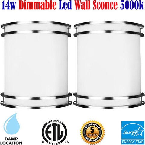 Wall Sconces Canada Dimmable 2pack Led 14w 5000k Bedroom Bathroom 120V - LED Light World