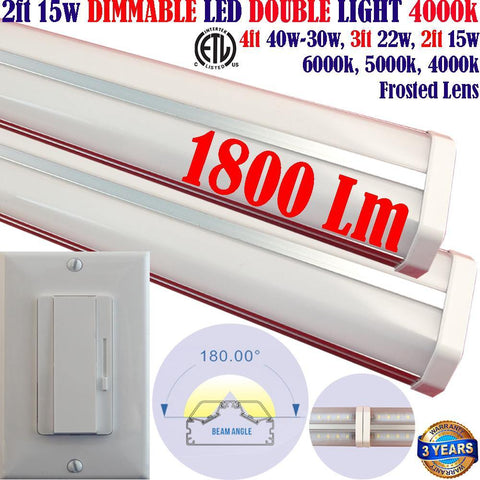 Hardwired Dimmable Led Under Cabinet Lighting, Canada: Led Dimmer+2 pack 2ft 15w 4000k Kitchen - LED Light Canada