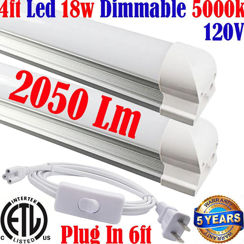 Plug In Wall Lights: Canada T8 4ft Dimmable 2pack 18w 5000k Kitchen - LED Light World