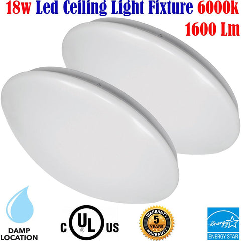 Bright Flush Mount Ceiling Light: Canada 2 Pack 18w 6000k Kitchen Stair - LED Light World