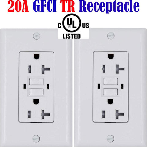 20a GFCI Outlet: Canada 20amp 2pack Temper Resistant Receptacle TR - LED Light Canada