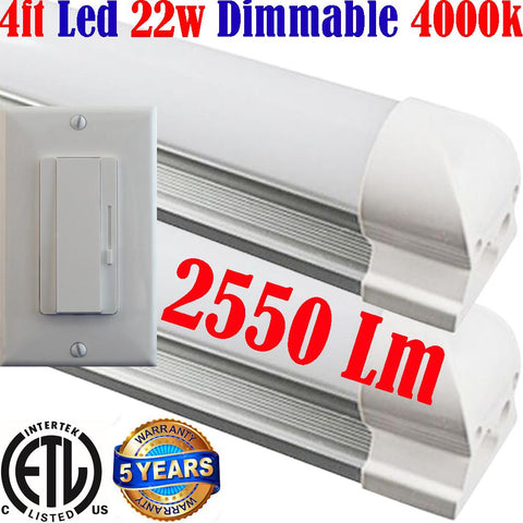 Dimmable Led Under Cabinet Lighting, Canada: Led Dimmer+T8 2pack 4ft 22w 4000k