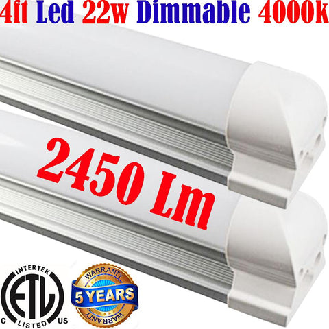 Dimmable Under Cabinet Lighting: Canada T8 2pack 4ft 22w 4000k Garage Shop - LED Light Canada