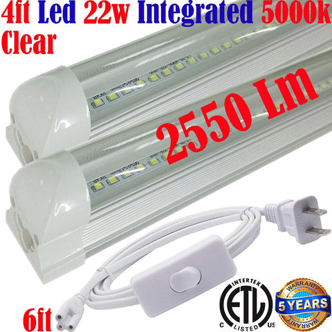 Plug In Wall Lights Canada: T8 2pack 4ft Led 22w Clear  5000k Home Shop 120V - LED Light World