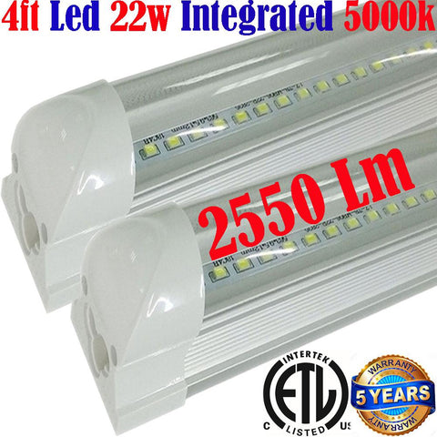 Garage Ceiling Light Fixtures, Canada T8 2pack 4ft Led 22w Clear 5000k - LED Light World