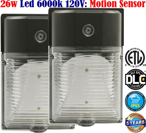 Led Motion Sensor Light Canada: 26w 6000k 2 Pack Brightest Porch Garage - LED Light World