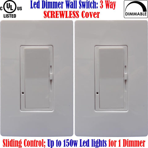 3 Way Led Dimmer: Canada 2pack Screwless Dimmable Switch 150w 120V - LED Light World