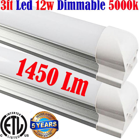 Dimmable Under Cabinet Lighting: Canada T8 2pack 3ft 12w 5000k Shop Garage - LED Light World