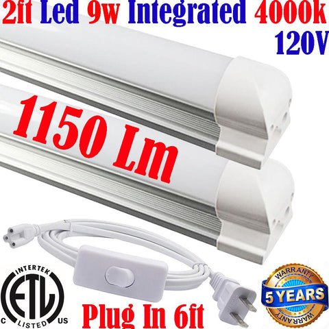 Under Counter Led Lights: Canada T8 2ft 2pack 9w 4000k Kitchen Shop 120V - LED Light World