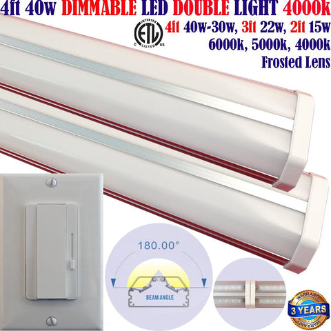 Dimmable Led Light Fixtures, Canada: Led Dimmer+2pack 4ft 40w 4000k Garage Shop - LED Light World