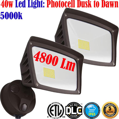 Outdoor Garage Door Lights, Canada 40w 5000k 4800Lm 2pack Led Dusk to Dawn Yard - LED Light World