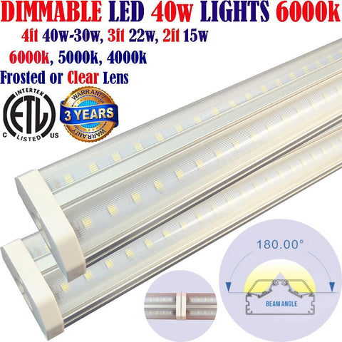 Led Garage Lights Canada, Dimmable: 2 pack 4ft 40w Clear 6000k Linkable Shop - LED Light Canada