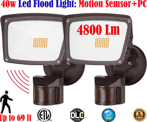 Led Motion Sensor Light Canada: 40w 5000k 2pack Garage Porch Yard 120V - LED Light World
